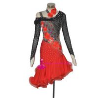 saias de dança salsa vermelha venda por atacado-Dança Latina Saia de Alta Qualidade Preto Vermelho Tango Salsa Personalizado Samba Cha cha Dança Latina Saia Das Mulheres