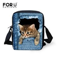 Wholesale Wholesale Bags For Teens - Wholesale- FORUDESIGNS Brand Animal Denim Cat Messenger Bag for Women Mini Lady Girls Crossbody Bag Casual Small Teen Kids Messenger Bag