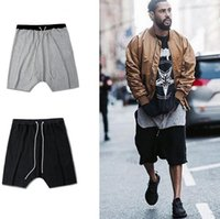 Wholesale Crotch Pants For Men - Mens Hi Street Fashion Harem Shorts Kanye West Drop Crotch Loose Men Short Pants Drawstring Pocket With Zipper Shorts For Men freeshipping