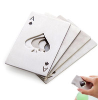 Wholesale ace playing cards - Poker Playing Card Ace of Spades Bar Tool Soda Beer Bottle Cap Opener Gift Hot Sale 100pcs