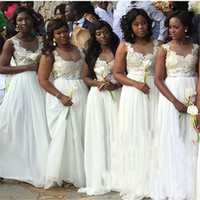 Wholesale image wedding dresses for girls resale online - 2017 White Bridesmaid Dresses For South African Black Girls New Sleeveless Chiffon Floor Length Wedding Guest Dress Maid of Honor Dresses