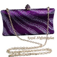 Grossiste en gros de vente en gros Purple Womens Evening Bag avec Rhinestone Crystal embrayage Purse