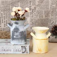 latas de jarrones al por mayor-Barriles de flor de hierro Firma de alta calidad con dos asas Mini maceta rústica jarro de jarra primitiva rústico Puede envase 5 4tg A R