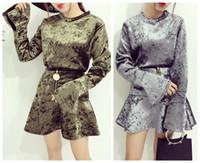 Wholesale Korean Dresses Top Skirt - Autumn winter new women's korean fashion stand collar velvet flare sleeve top and high waist short mermaid skirt 2 piece dress set