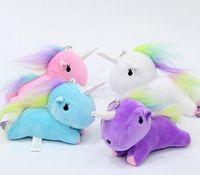 Wholesale Teddy Pendant Chain - Cute Unicorn Plush Pendant Toys Soft Stuffed Animal Dolls with Key Chain Kids Toys Gifts rainbow Unicorn Pendant keyring