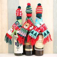 ingrosso decorazioni da tavola di natale-Party Decoration Christmas Wine Bottle Coprire i vestiti Xmas Santa Renna tavolo bottiglia Decor Party