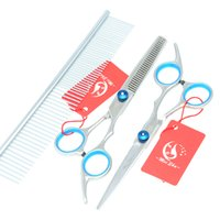 Wholesale Pet Cleaning Kit - 6.0Inch 2017 New Meisha Professional Pet Grooming Scissors Set Pet Scissors Cutting & Thinning & Curved Dog Shears Grooming Cat Kits ,HB0008