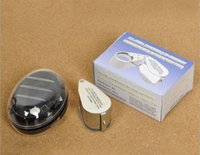 Wholesale Illuminated Magnifier Led - New Illuminated Jewelers Loupe 40X 25mm magnifying Magnifier with LED & UV Lights