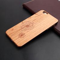Wholesale Pear Phones - Cell Phone Case Wood carving Fashionable Pattern design Detachable Flower Pear Wood Case For iphone SE 5S 6S 6SPLUS 7 7PLUS