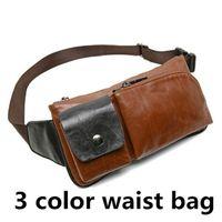 Wholesale Retro Gym Bags - Retro 3 color messenger bag men PU waist bag men PU leather handbag shoulder bags waist bags for men out301