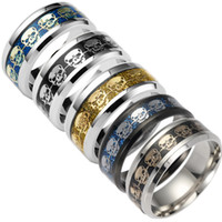 Wholesale Titanium Band Ring Blue - Fashion Rings For Men Gift Mens Jewelry Never Fade Stainless Steel Skull Ring Gold Filled Blue Black Skeleton Pattern Man Biker