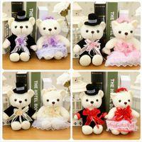 Wholesale Groom Teddy - 20cm Kawaii Wedding Bear Plush TOY; Gift Bride Single Piece Groom Bear Bouquet Dolls Plush Stuffed TOY Soft Figure DOLL TOY