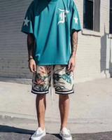 meilleures chemises respirantes achat en gros de-2017 TOP Meilleure Qualité Justin Bieber FOG NEW bleu Hommes T-shirt Hip-Hop respirant Mesh broderie lettres T-shirt Surdimensionné HOT S-XL