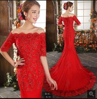 Wholesale Red Wedding Gowns Online - 2017 Red Wedding Dresses Sexy Mermaid Half Sleeve Formal Wedding Gowns Court Train stylish Lace Appliques Bridal Gowns Online Sale