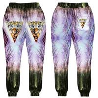 Wholesale Forest Leopard - Wholesale- New style animal design For Men Women Jogger Pants Leopard Forest 3D Print Sweatpants Hip Hop Trousers