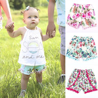 Wholesale Toddler High Waist Shorts - summer 2017 kids pom pom shorts toddler tassel floral shorts baby girls flower print short pants fashion infant clothing boutique wholesale