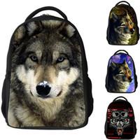 Wholesale Laptop Shoulder Bag 16 - 16 inch 3D Animal School Bags Children Backpack Rucksack Cool Wolf laptop bags travel shoulder bags for boys girls