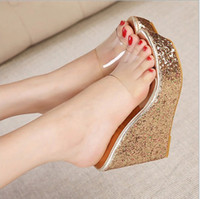 Wholesale Hot Sexy Wedges - wholesaler free shipping factory price hot seller fashion transparent new style wedge heel sexy Sequins sandals 146