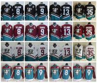 ccm хоккейные майки оптовых-Винтажные Anaheim Mighty Ducks Хоккей Трикотажные 8 Селянне 9 Пол Кария 35 Жан-Себастьян Жигер 13 Селянне 1998 CCM Джерси