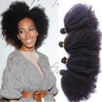 produtos de cabelo encaracolado natural preto venda por atacado-Barato Venda 9A Brasileira Kinky Curly Hair 4 Tecer Bundles Afro Kinky Produtos de Cabelo Encaracolado Extensões de Cabelo Humano para mulher negra