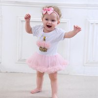 Summer Above Knee/Mini 100% Cotton Ins Hot Sell Baby Tutu Dress Mickey Mushroom Head Ice Cream Striped Cake Leopard Cake Short Sleeve Baby Jumpsuits +Headdress For 3M-18M 008#