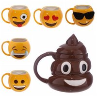 Wholesale Cup Smiling - 6 Designs Lovely Smiling Face Emoji Mug Porcelain Poop Shit Cup Cartoon Amused And Sad Cool Couple Mugs Coffee Cups CCA6467 40pcs