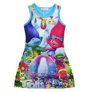Wholesale Poppy Dress - 2 Color Girls Trolls Princess Dress Children Summer Sleeveless Clothing Baby Princess Dresses Poppy Printting Kids Cartoon Vest Dress