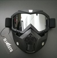 Wholesale Modular S - 2017 Modular Mask Detachable Goggles And Mouth Filter Perfect for Open Face Motorcycle Half Helmet or Vintage Helmets goggles for R1