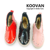 Wholesale Koovan Children s Boots Crush Low Price Baby s Shoes Star Cotton Boots Boys Girls Kids Rivet Leather Martin Children Shoes KX168