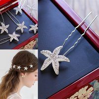 Wholesale Starfish Hair Comb Wedding - 10 PCS Wedding Accessories Bridal Pearls Hairpins Starfish Hair Spirals Hairpins Crystal Star shaped Wedding Bridal Combs Headpieces