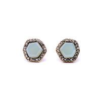 Wholesale Blue Diamond Stud Earrings - Lastest Fashion Design Cute Women Jewelry Irregular Pentagon Light Blue Diamond Earring Stud Earrings Bijoux Gift for Girls