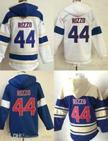Wholesale Xxl Mens Hoodies Cheap - Factory Outlet Chicago Mens 44 Anthony Rizzo White Blue High Quality Cheap Fashion Hot sale Full Embroidery Logos Sports Baseball Hoodies