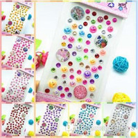 8 Color Crystal Acrylic Phone Stickers Hand Book Diary Diamond Stickers Decorativo de telefone Paster Baby Bedroom Decalques de parede