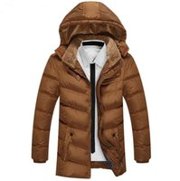 Wholesale Medium Hat Size - winter men jacket down parkas medium-long coats hooded thickening warm outwear overcoat fur collar snow coat windbreak plus size 3xl