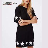 Wholesale ladies night shirt new - Wholesale- Kaige.Nina T-shirt Dress Black Short T Shirt Dress new summer style ladies Star print fashion mini t-shirt dresses for women2135