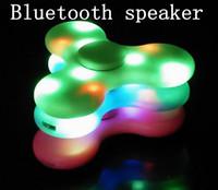 Wholesale 14 Lithium Battery - Greatlizard Fidget LED Light EDC Music Spinner Wireless Bluetooth Galaxy Sparkling Flash Lithium Battery Charge Spinner Speaker