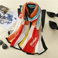 warme decken geben verschiffen frei großhandel-100% echte Seide Schal Frauen Decke Plaid Schal weibliche Tücher und Schals warme Frauen Seide Tippet 18 Farben versandkostenfrei