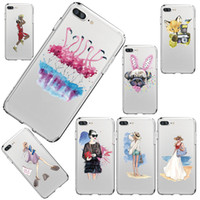 Pour iPhone 7 6 6S 5 5S SE 7Plus 6sPlus cas de téléphone de mode Fashion Shopping Girl Flamingo Transparent Soft Silicon Mobile Phone Bag