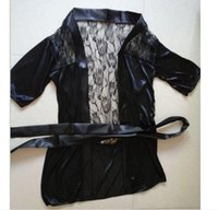 Wholesale Sexy Plus Size Robe Lingerie - Fashion New Sexy Lingerie Satin Black Lace Kimono Intimate pijamas Robe noite vestido,Plus Size XL,free shipping