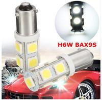 h6w led ampul toptan satış-2X H6W BAX9S 9 SMD 5050 LED CANBUS Yan Park Işık Ampüller Araba DRL İç Ampüller 12 V Işıklar LED Beyaz Ampuller