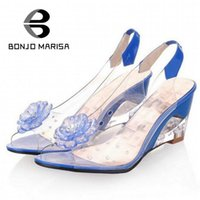 Wholesale High Quality Stylish Dressing - Wholesale-BONJOMARISA Big Size 34-43 Factory Price Rome stylish high quality fashion wedge heel sandals dress casual shoes sandals XB140