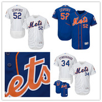 maillot authentique 52 achat en gros de-2017 New York Mets a cousu baseball Jersey Yoenis Cespedes # 52 Noah Syndergaard # 34 Majestic Home Flex Base Chandails de collection authentique