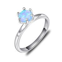 Wholesale Silver Blue Opal Ring - 6 PCS LOT Classic Weddings Jewelry Drop Blue Fire Opal Gemstone 925 Sterling Silver Plated Weddiing Ring