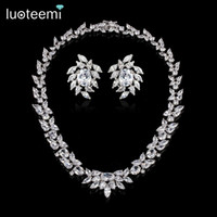Wholesale necklace sparkling earrings - LUOTEEMI Luxury White Gold-Color For Women Jewelry Sparkling AAA Cubic Zirconia Bridal High Quality Wedding Choker Necklace Earrings Set