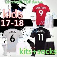 Wholesale Red Soccer Socks Youth - 2017 2018 Kids kits+socks POGBA home away 3rd soccer jersey 17 18 youth UNiTed LUKAKU MARTIAL ROONEY RASHFORD child shirt Football jersey