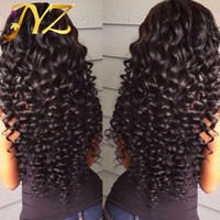 human hair wigs großhandel-Menschenhaar-Perücken-Spitze-Frontseiten-brasilianische malaysische indische lockige Haar-volle Spitze-Perücke Remy-Jungfrau-Haar-Spitze-Front-Perücken für schwarze Frauen
