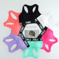 Wholesale Sexy Ladies Vest Top - Sexy Women Yoga Vest Breathable Running Sports Bras Padded Letter PINK Yoga Bra Tops Seamless Fitness Underwear Lady Crop Tops