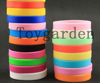 Wholesale Silicone Jelly Pcs - Wholesale mix 100 Pcs Multicolor mixed Silicone Wristband Promotion Filled Bracelet gifts free shipping