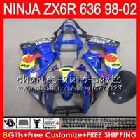 Wholesale Zx6r Fairing 98 - 8Gifts For KAWASAKI NINJA ZX6R 98 99 00 01 02 ZX636 ZX-6R ZX-636 blue black 31NO34 600CC ZX 636 ZX 6R 1998 1999 2000 2001 2002 Fairing kit
