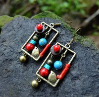 Wholesale Earrings Shells - Handmade Earrings Vintage Coconut Shell Brass Birdcage Turquoise Dangle Earrings Jewelry Chinese Square Ethnic Free Shipping